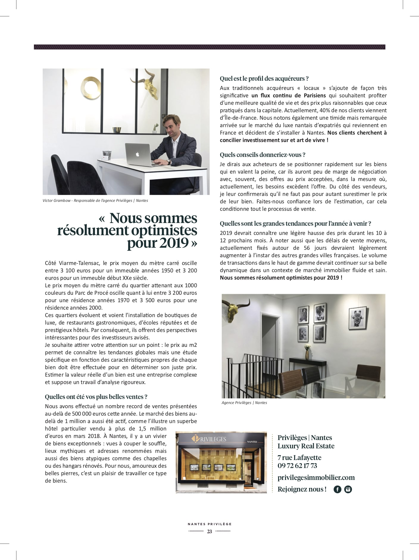 Magazine Nantes Privilège – automne/hiver 2018